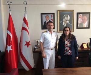 Akdeniz Bölge ve Garnizon Komutanı Tuğamiral Önder Gürbüz Başkonsolos Ayşen Volkan İnanıroğlu'na iade-i ziyarette bulundu