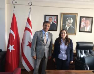 Akdeniz Kaymakamı ve Akdeniz Belediye Başkanı Muhittin Pamuk KKTC Mersin Başkonsolosu Ayşen Volkan İnanıroğlu'na iade'i ziyarette bulundu
